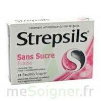 STREPSILS FRAISE SANS SUCRE, pastille édulcorée à l'isomalt, au maltitol et à la saccharine sodique à VALENCE