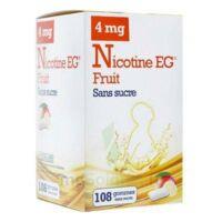 Nicotine EG 4 mg Gomme à mâcher médicamenteuse sans sucre fruit édulcorée à l'acésulfame potassique et saccharine Plq/108 à VALENCE